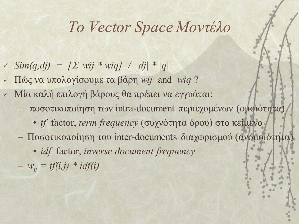 Το Vector Space Μοντέλο Sim(q,dj) = [  wij * wiq] / |dj| * |q| Πώς να υπολογίσουμε τα βάρη wij and wiq .