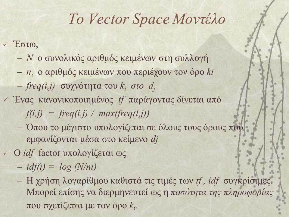 Το Vector Space Μοντέλο Έστω, –N ο συνολικός αριθμός κειμένων στη συλλογή –n i ο αριθμός κειμένων που περιέχουν τον όρο ki –freq(i,j) συχνότητα του k i στο d j Ένας κανονικοποιημένος tf παράγοντας δίνεται από –f(i,j) = freq(i,j) / max(freq(l,j)) –Όπου το μέγιστο υπολογίζεται σε όλους τους όρους που εμφανίζονται μέσα στο κείμενο dj Ο idf factor υπολογίζεται ως –idf(i) = log (N/ni) –Η χρήση λογαρίθμου καθιστά τις τιμές των tf, idf συγκρίσιμες.