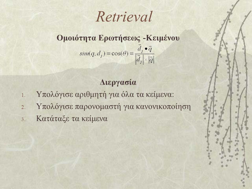 Retrieval Ομοιότητα Ερωτήσεως -Κειμένου Διεργασία 1.