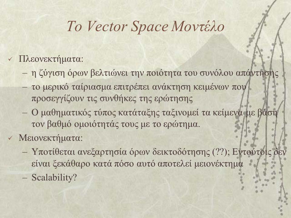 Το Vector Space Μοντέλο Πλεονεκτήματα: –η ζύγιση όρων βελτιώνει την ποιότητα του συνόλου απάντησης –το μερικό ταίριασμα επιτρέπει ανάκτηση κειμένων που προσεγγίζουν τις συνθήκες της ερώτησης –Ο μαθηματικός τύπος κατάταξης ταξινομεί τα κείμενα με βάση τον βαθμό ομοιότητάς τους με το ερώτημα.