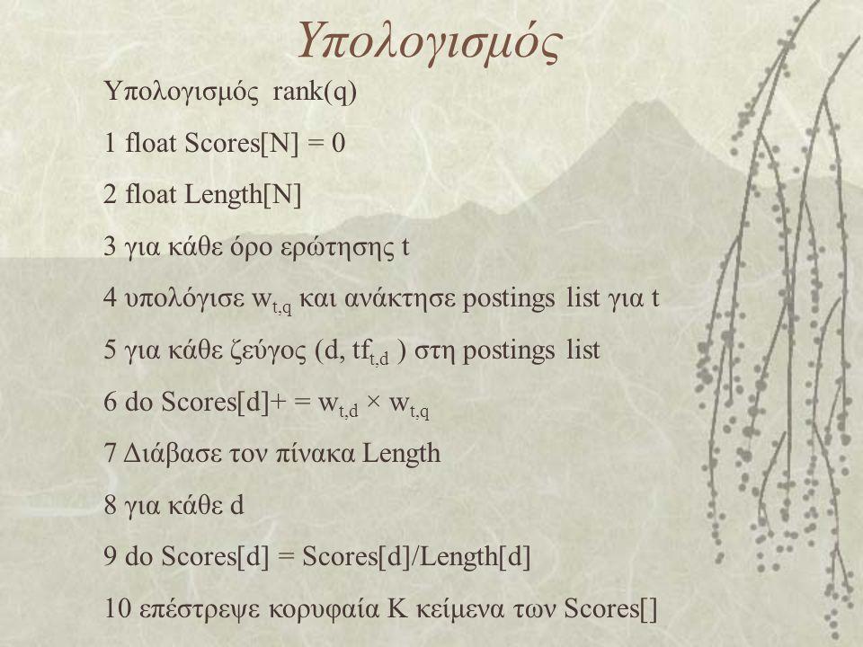 Υπολογισμός Υπολογισμός rank(q) 1 float Scores[N] = 0 2 float Length[N] 3 για κάθε όρο ερώτησης t 4 υπολόγισε w t,q και ανάκτησε postings list για t 5 για κάθε ζεύγος (d, tf t,d ) στη postings list 6 do Scores[d]+ = w t,d × w t,q 7 Διάβασε τον πίνακα Length 8 για κάθε d 9 do Scores[d] = Scores[d]/Length[d] 10 επέστρεψε κορυφαία K κείμενα των Scores[]