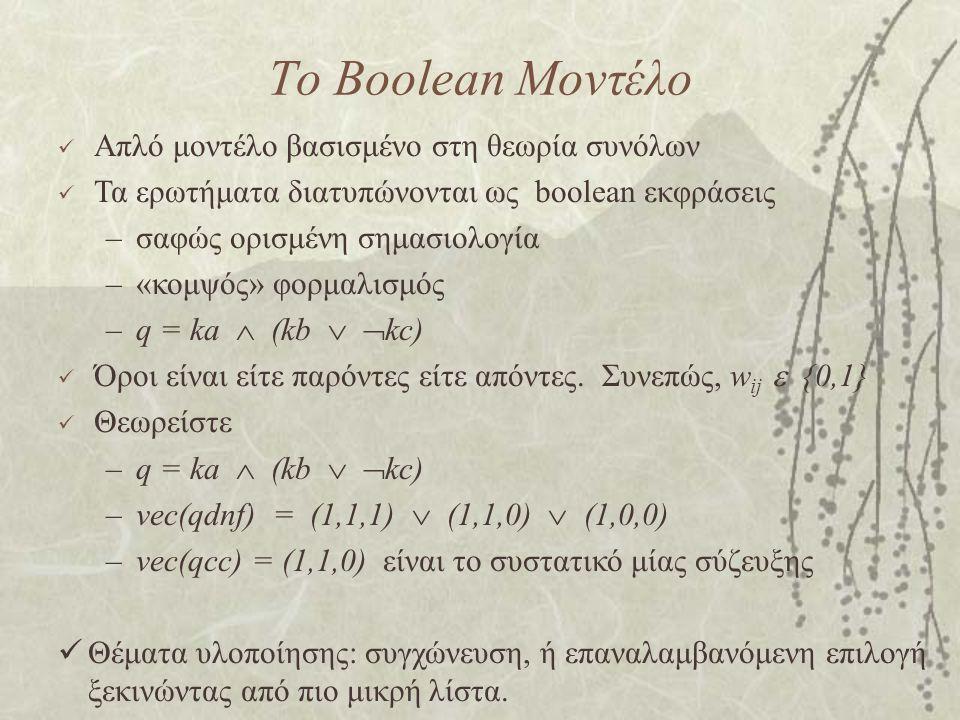 Το Boolean Μοντέλο Απλό μοντέλο βασισμένο στη θεωρία συνόλων Τα ερωτήματα διατυπώνονται ως boolean εκφράσεις –σαφώς ορισμένη σημασιολογία –«κομψός» φορμαλισμός –q = ka  (kb   kc) Όροι είναι είτε παρόντες είτε απόντες.