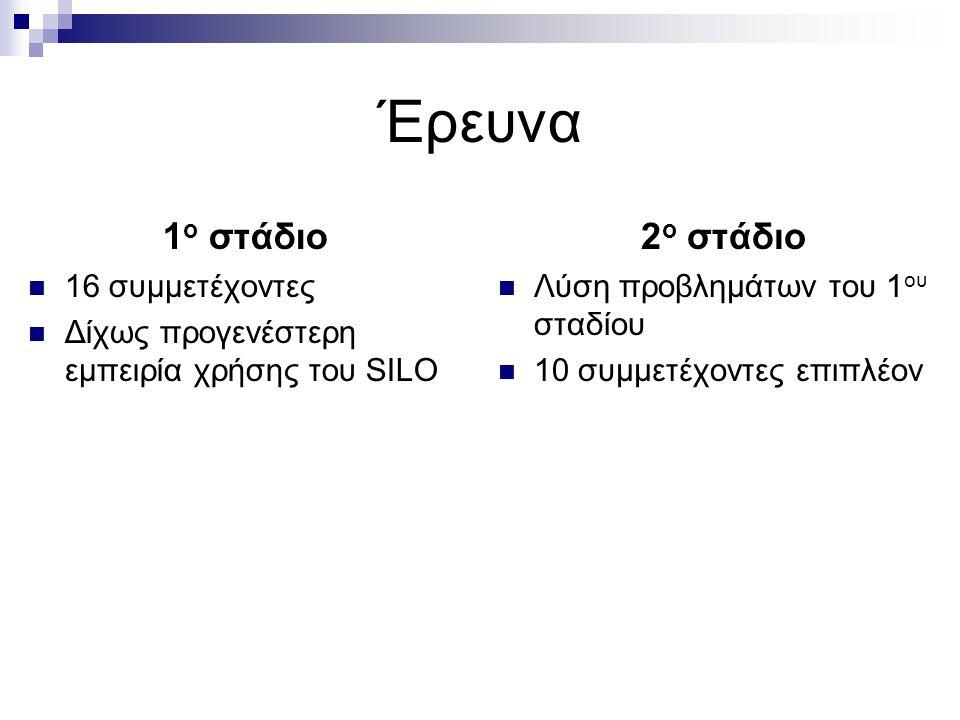 Έρευνα 1 ο στάδιο 16 συμμετέχοντες Δίχως προγενέστερη εμπειρία χρήσης του SILO 2 ο στάδιο Λύση προβλημάτων του 1 ου σταδίου 10 συμμετέχοντες επιπλέον