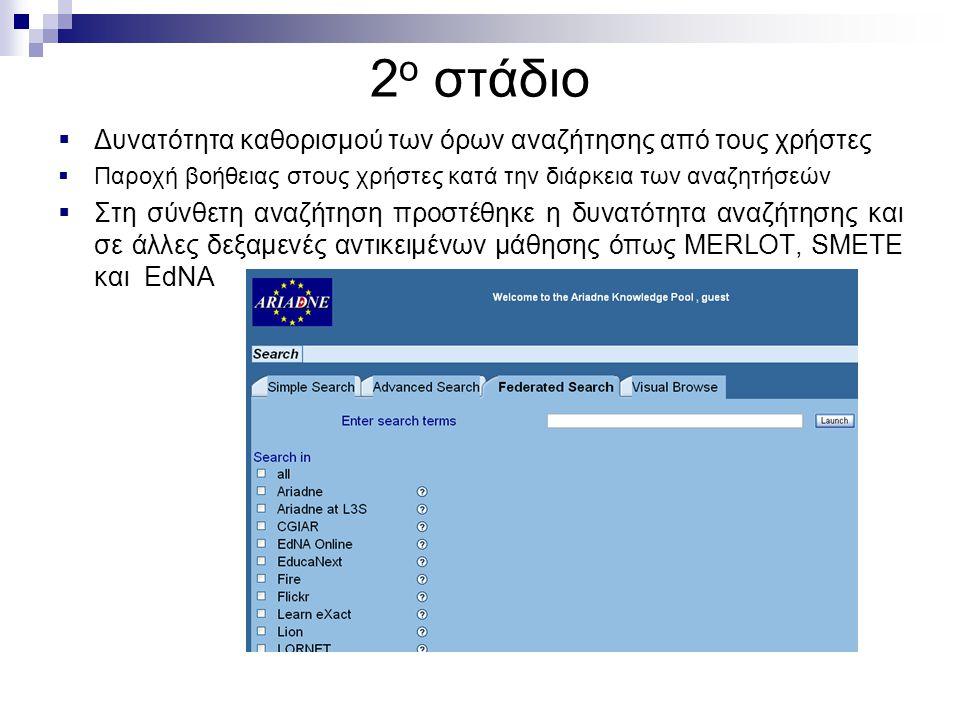 2 ο στάδιο  Δυνατότητα καθορισμού των όρων αναζήτησης από τους χρήστες  Παροχή βοήθειας στους χρήστες κατά την διάρκεια των αναζητήσεών  Στη σύνθετη αναζήτηση προστέθηκε η δυνατότητα αναζήτησης και σε άλλες δεξαμενές αντικειμένων μάθησης όπως MERLOT, SMETE και EdNA