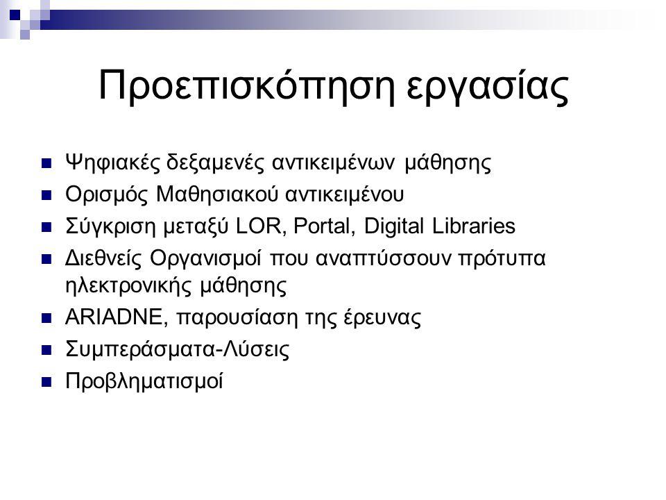 Προεπισκόπηση εργασίας Ψηφιακές δεξαμενές αντικειμένων μάθησης Ορισμός Μαθησιακού αντικειμένου Σύγκριση μεταξύ LOR, Portal, Digital Libraries Διεθνείς Οργανισμοί που αναπτύσσουν πρότυπα ηλεκτρονικής μάθησης ARIADNE, παρουσίαση της έρευνας Συμπεράσματα-Λύσεις Προβληματισμοί