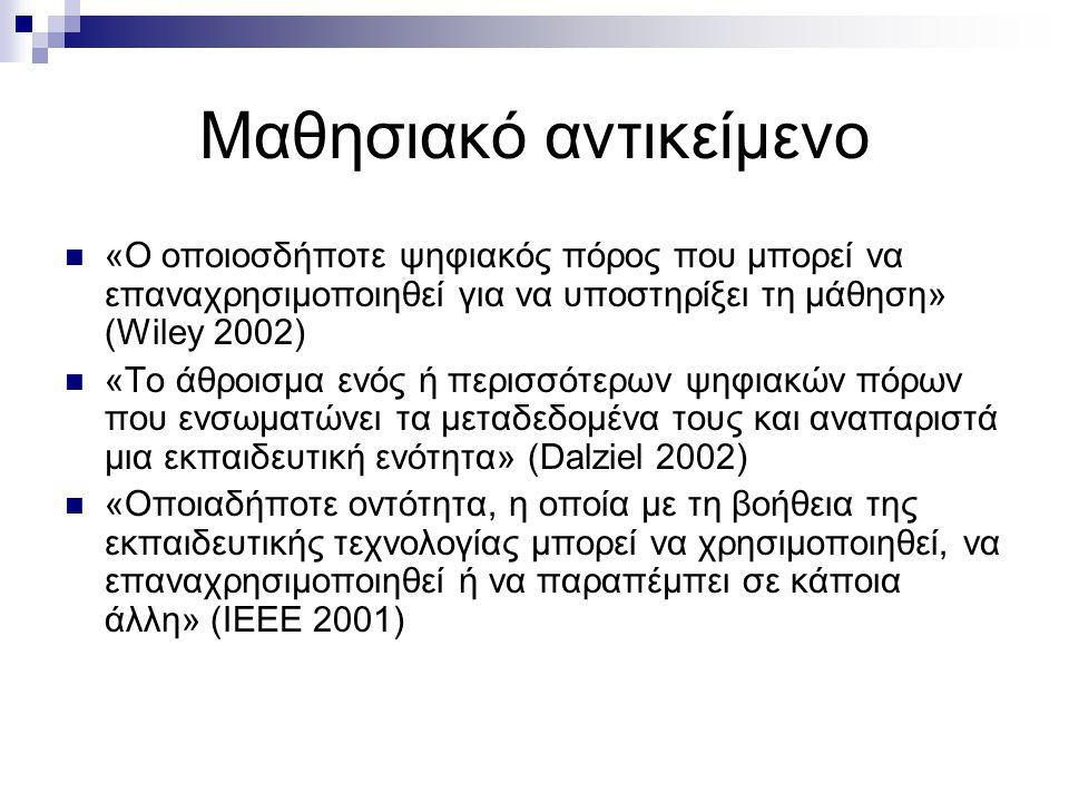 Μαθησιακό αντικείμενο «Ο οποιοσδήποτε ψηφιακός πόρος που μπορεί να επαναχρησιμοποιηθεί για να υποστηρίξει τη μάθηση» (Wiley 2002) «Το άθροισμα ενός ή περισσότερων ψηφιακών πόρων που ενσωματώνει τα μεταδεδομένα τους και αναπαριστά μια εκπαιδευτική ενότητα» (Dalziel 2002) «Οποιαδήποτε οντότητα, η οποία με τη βοήθεια της εκπαιδευτικής τεχνολογίας μπορεί να χρησιμοποιηθεί, να επαναχρησιμοποιηθεί ή να παραπέμπει σε κάποια άλλη» (ΙΕΕΕ 2001)