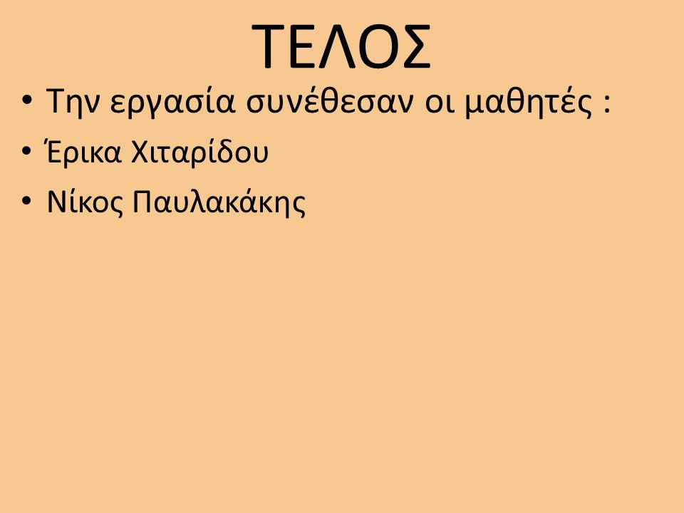 ΤΕΛΟΣ Την εργασία συνέθεσαν οι μαθητές : Έρικα Χιταρίδου Νίκος Παυλακάκης
