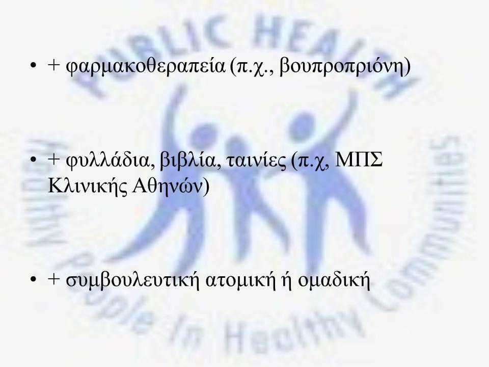 + φαρμακοθεραπεία (π.χ., βουπροπριόνη) + φυλλάδια, βιβλία, ταινίες (π.χ, ΜΠΣ Κλινικής Αθηνών) + συμβουλευτική ατομική ή ομαδική