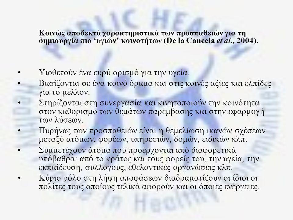 Κοινώς αποδεκτά χαρακτηριστικά των προσπαθειών για τη δημιουργία πιο 'υγιών' κοινοτήτων (De la Cancela et al., 2004).