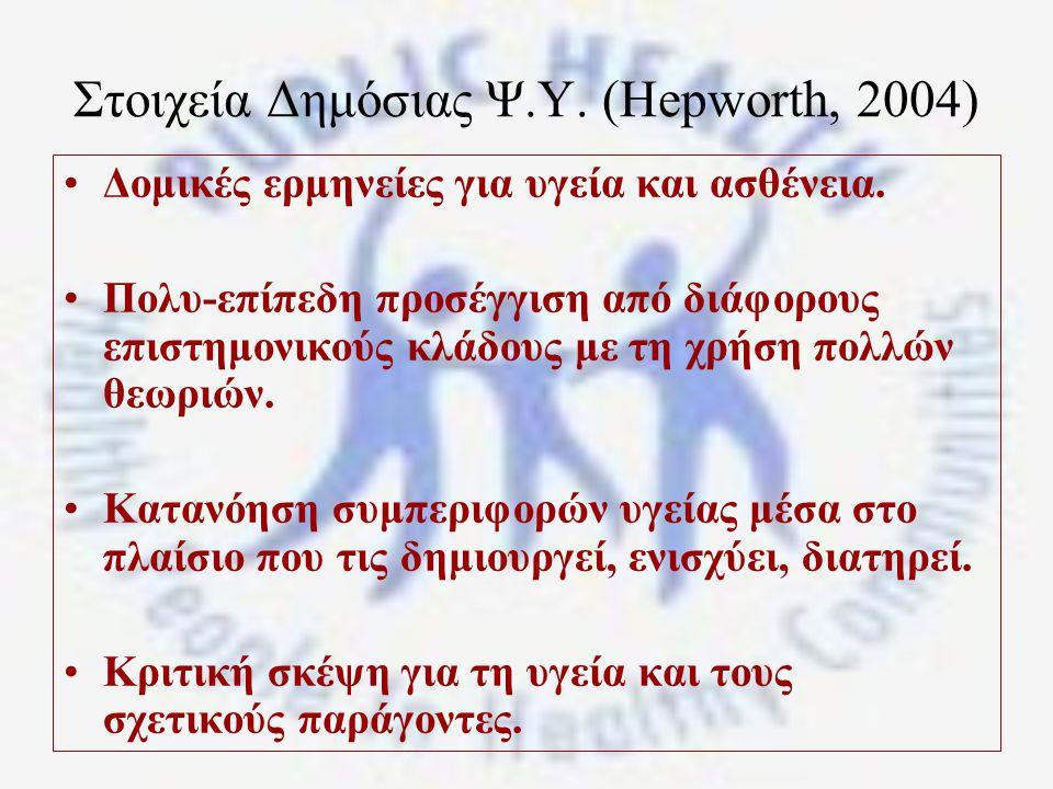 Στοιχεία Δημόσιας Ψ.Υ.(Hepworth, 2004) Δομικές ερμηνείες για υγεία και ασθένεια.