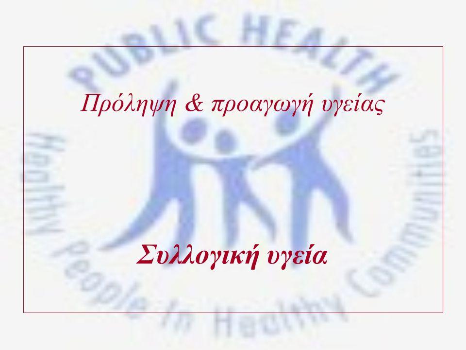 Πρόληψη & προαγωγή υγείας Συλλογική υγεία