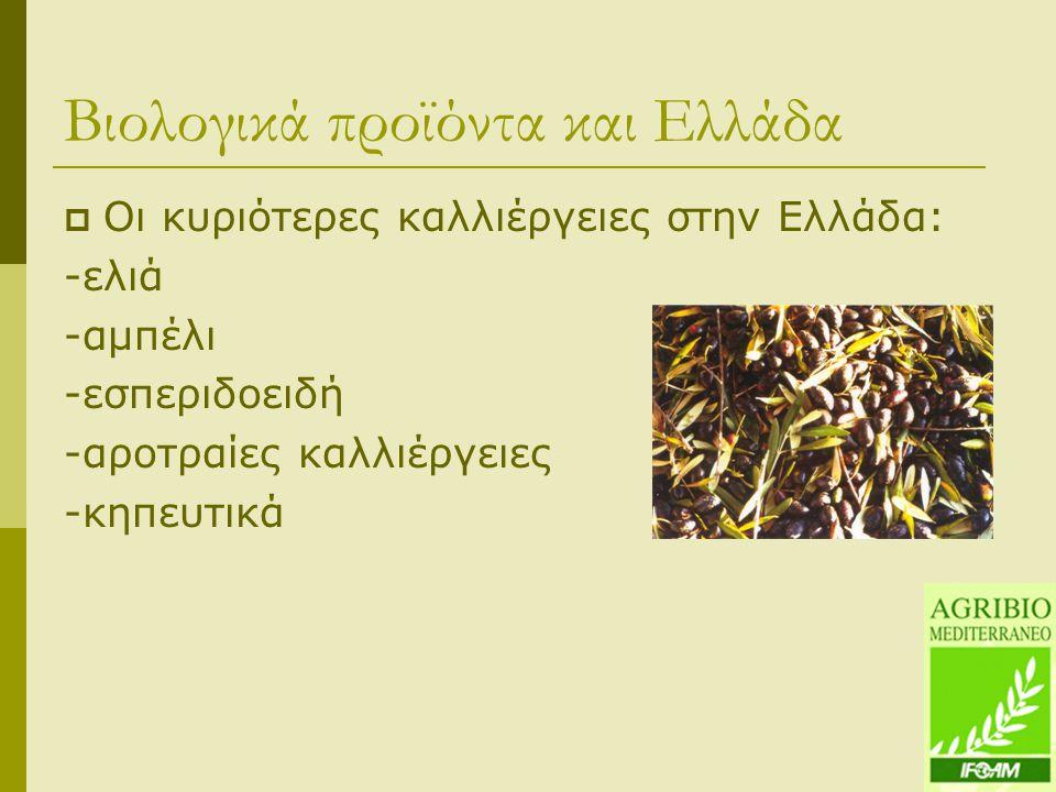 Βιολογικά προϊόντα και Ελλάδα  Οι κυριότερες καλλιέργειες στην Ελλάδα: -ελιά -αμπέλι -εσπεριδοειδή -αροτραίες καλλιέργειες -κηπευτικά