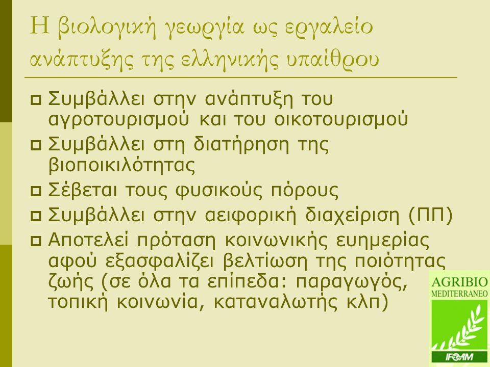 Η βιολογική γεωργία ως εργαλείο ανάπτυξης της ελληνικής υπαίθρου  Συμβάλλει στην ανάπτυξη του αγροτουρισμού και του οικοτουρισμού  Συμβάλλει στη διατήρηση της βιοποικιλότητας  Σέβεται τους φυσικούς πόρους  Συμβάλλει στην αειφορική διαχείριση (ΠΠ)  Αποτελεί πρόταση κοινωνικής ευημερίας αφού εξασφαλίζει βελτίωση της ποιότητας ζωής (σε όλα τα επίπεδα: παραγωγός, τοπική κοινωνία, καταναλωτής κλπ)