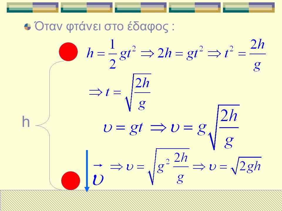 Ένα σώμα αφήνεται από ύψος h, την στιγμή μηδέν. h Την στιγμή t έχει κατέβει : x Έχει δε ταχύτητα : Πόσο απέχει από το έδαφος ;