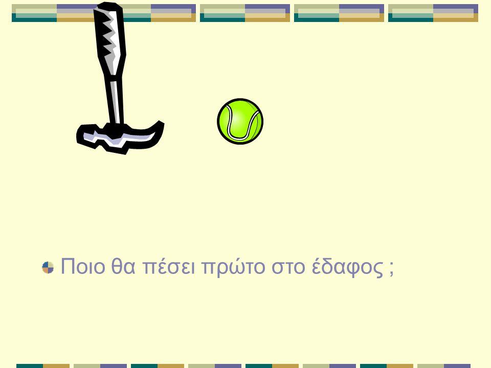 Ποιο σώμα δέχεται μεγαλύτερη αντίσταση ; Ενώ η αντίσταση που δέχεται το μπαλόνι είναι συγκρίσιμη με το βάρος του, η αντίσταση που δέχεται η μπάλα είναι αμελητέα σε σχέση με το βάρος της.