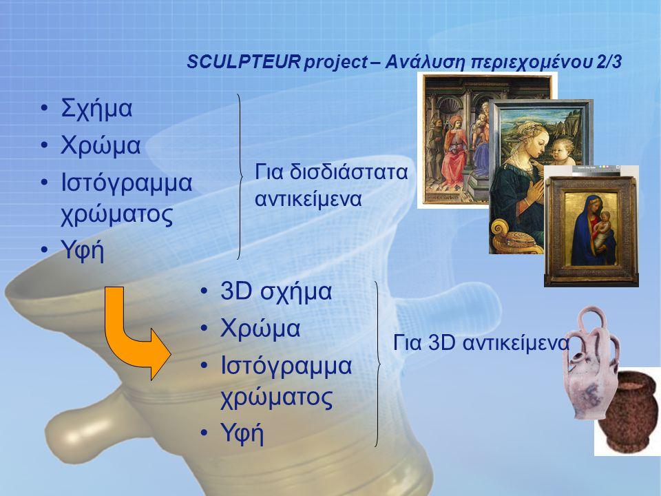 12 SCULPTEUR project – Ανάλυση περιεχομένου 2/3 Σχήμα Χρώμα Ιστόγραμμα χρώματος Υφή Για δισδιάστατα αντικείμενα 3D σχήμα Χρώμα Ιστόγραμμα χρώματος Υφή Για 3D αντικείμενα