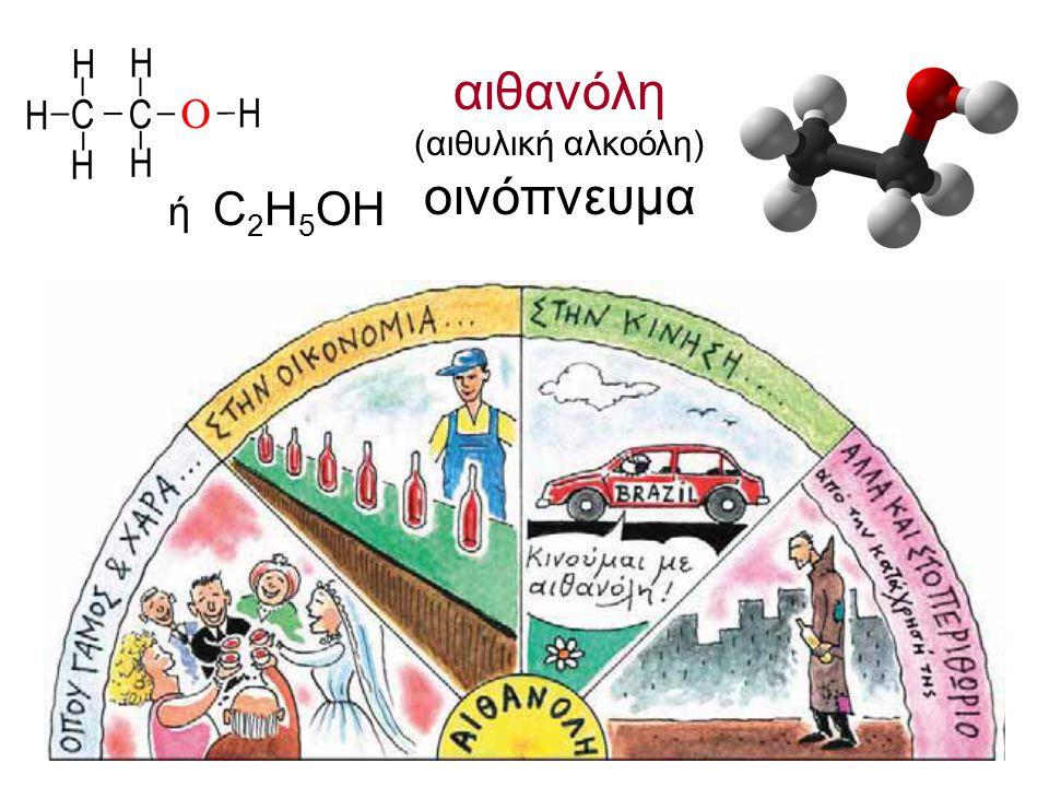 αιθανόλη (αιθυλική αλκοόλη) οινόπνευμα ή C 2 H 5 OH