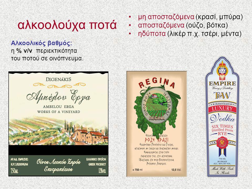 αλκοολούχα ποτά μη αποσταζόμενα (κρασί, μπύρα) αποσταζόμενα (ούζο, βότκα) ηδύποτα (λικέρ π.χ. τσέρι, μέντα) Αλκοολικός βαθμός: η % v/v περιεκτικότητα