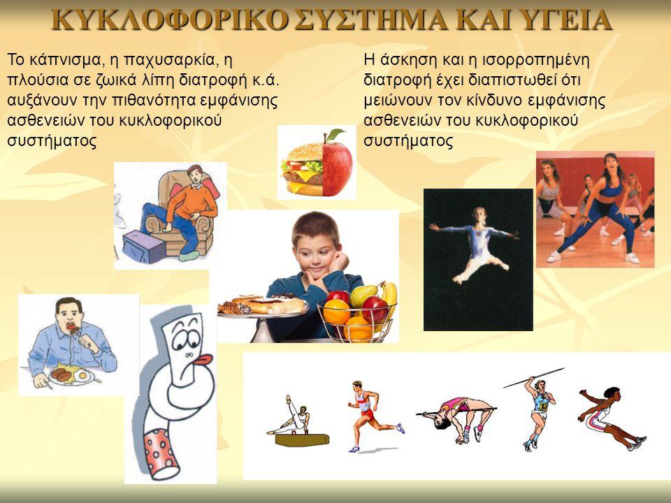 ΚΥΚΛΟΦΟΡΙΚΟ ΣΥΣΤΗΜΑ ΚΑΙ ΥΓΕΙΑ Η άσκηση και η ισορροπημένη διατροφή έχει διαπιστωθεί ότι μειώνουν τον κίνδυνο εμφάνισης ασθενειών του κυκλοφορικού συστ