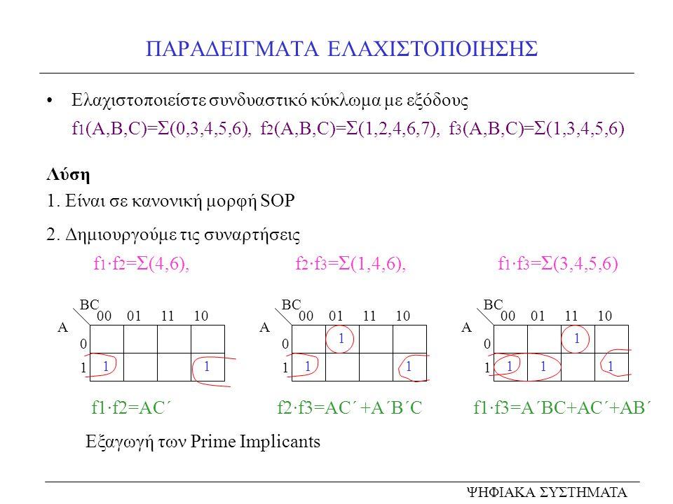 ΠΑΡΑΔΕΙΓΜΑΤΑ ΕΛΑΧΙΣΤΟΠΟΙΗΣΗΣ Ελαχιστοποιείστε συνδυαστικό κύκλωμα με εξόδους f 1 (A,B,C)= Σ (0,3,4,5,6), f 2 (A,B,C)= Σ (1,2,4,6,7), f 3 (A,B,C)= Σ (1