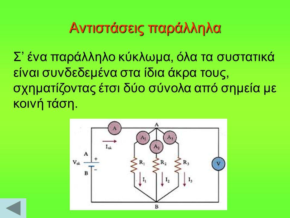 Αντιστάσεις παράλληλα Σ' ένα παράλληλο κύκλωμα, όλα τα συστατικά είναι συνδεδεμένα στα ίδια άκρα τους, σχηματίζοντας έτσι δύο σύνολα από σημεία με κοι