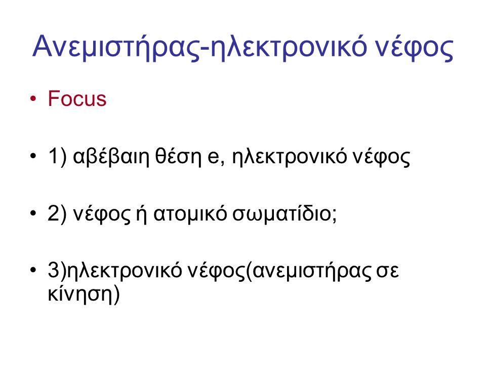 Ανεμιστήρας-ηλεκτρονικό νέφος Focus 1) αβέβαιη θέση e, ηλεκτρονικό νέφος 2) νέφος ή ατομικό σωματίδιο; 3)ηλεκτρονικό νέφος(ανεμιστήρας σε κίνηση)