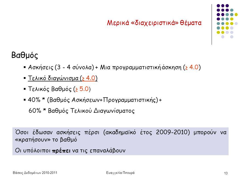Βάσεις Δεδομένων 2010-2011Ευαγγελία Πιτουρά 13 Μερικά «διαχειριστικά» θέματα Βαθμός  Ασκήσεις (3 - 4 σύνολα) + Μια προγραμματιστική άσκηση (≥ 4.0)  Τελικό διαγώνισμα (≥ 4.0)  Τελικός Βαθμός (≥ 5.0 )  40% * (Βαθμός Ασκήσεων+Προγραμματιστικής) + 60% * Βαθμός Τελικού Διαγωνίσματος Όσοι έδωσαν ασκήσεις πέρσι (ακαδημαϊκό έτος 2009-2010) μπορούν να «κρατήσουν» το βαθμό Οι υπόλοιποι πρέπει να τις επαναλάβουν
