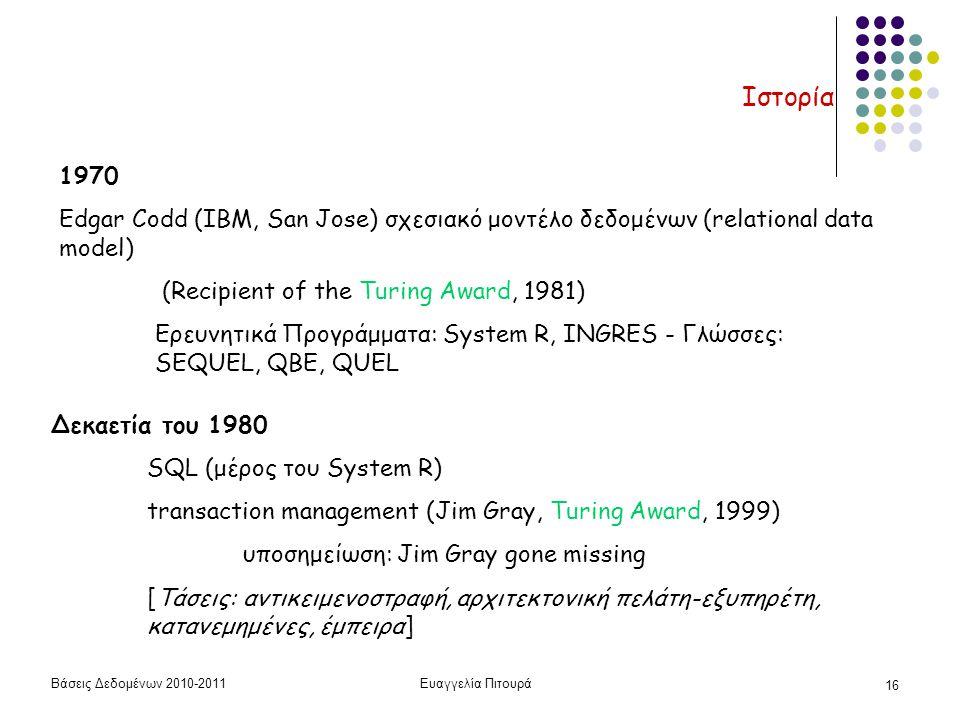 Βάσεις Δεδομένων 2010-2011Ευαγγελία Πιτουρά 16 Ιστορία 1970 Edgar Codd (IBM, San Jose) σχεσιακό μοντέλο δεδομένων (relational data model) (Recipient of the Turing Award, 1981) Ερευνητικά Προγράμματα: System R, INGRES - Γλώσσες: SEQUEL, QBE, QUEL Δεκαετία του 1980 SQL (μέρος του System R) transaction management (Jim Gray, Turing Award, 1999) υποσημείωση: Jim Gray gone missing [Τάσεις: αντικειμενοστραφή, αρχιτεκτονική πελάτη-εξυπηρέτη, κατανεμημένες, έμπειρα]