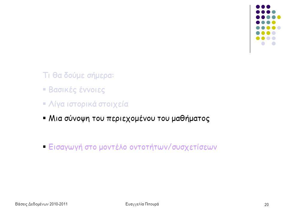 Βάσεις Δεδομένων 2010-2011Ευαγγελία Πιτουρά 20 Τι θα δούμε σήμερα:  Βασικές έννοιες  Λίγα ιστορικά στοιχεία  Μια σύνοψη του περιεχομένου του μαθήματος  Εισαγωγή στο μοντέλο οντοτήτων/συσχετίσεων