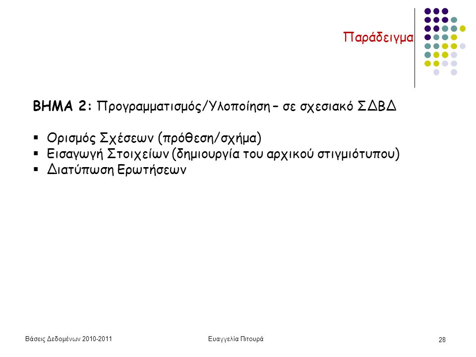 Βάσεις Δεδομένων 2010-2011Ευαγγελία Πιτουρά 28 Παράδειγμα ΒΗΜΑ 2: Προγραμματισμός/Υλοποίηση – σε σχεσιακό ΣΔΒΔ  Ορισμός Σχέσεων (πρόθεση/σχήμα)  Εισαγωγή Στοιχείων (δημιουργία του αρχικού στιγμιότυπου)  Διατύπωση Ερωτήσεων