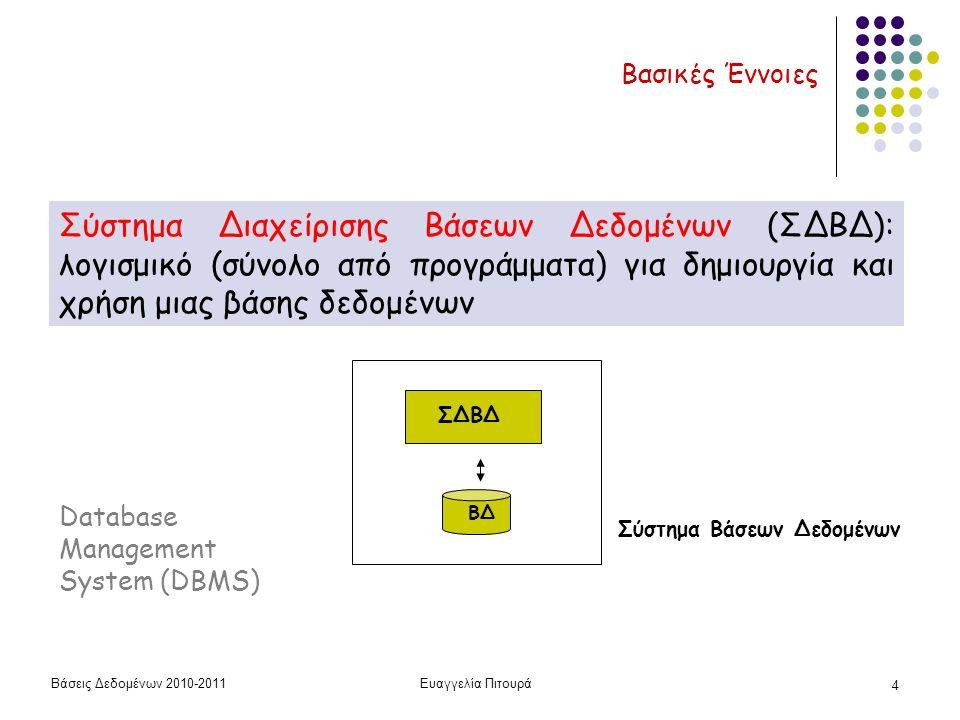 Βάσεις Δεδομένων 2010-2011Ευαγγελία Πιτουρά 4 Βασικές Έννοιες Σύστημα Διαχείρισης Βάσεων Δεδομένων (ΣΔΒΔ): λογισμικό (σύνολο από προγράμματα) για δημιουργία και χρήση μιας βάσης δεδομένων ΒΔ ΣΔΒΔ Σύστημα Βάσεων Δεδομένων Database Management System (DBMS)