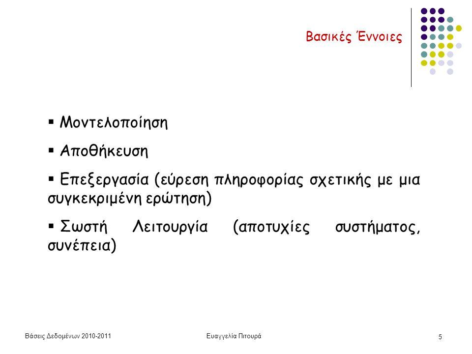 Βάσεις Δεδομένων 2010-2011Ευαγγελία Πιτουρά 5  Μοντελοποίηση  Αποθήκευση  Επεξεργασία (εύρεση πληροφορίας σχετικής με μια συγκεκριμένη ερώτηση)  Σωστή Λειτουργία (αποτυχίες συστήματος, συνέπεια) Βασικές Έννοιες
