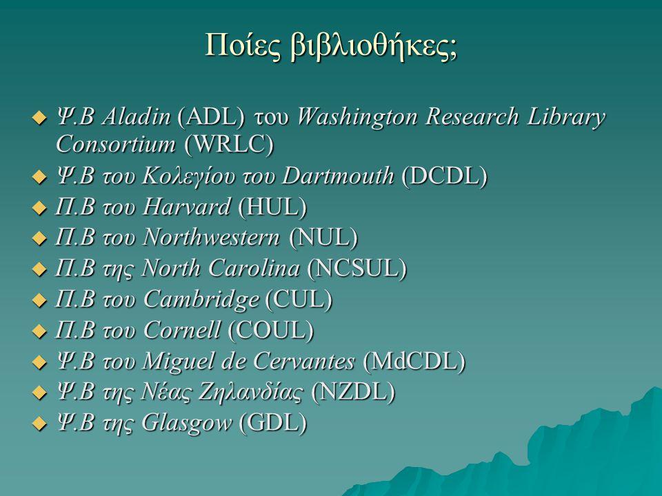 Ποίες βιβλιοθήκες;  Ψ.Β Aladin (ADL) του Washington Research Library Consortium (WRLC)  Ψ.Β του Κολεγίου του Dartmouth (DCDL)  Π.Β του Harvard (HUL)  Π.Β του Northwestern (NUL)  Π.Β της North Carolina (NCSUL)  Π.Β του Cambridge (CUL)  Π.Β του Cornell (COUL)  Ψ.Β του Miguel de Cervantes (MdCDL)  Ψ.Β της Νέας Ζηλανδίας (NZDL)  Ψ.Β της Glasgow (GDL)