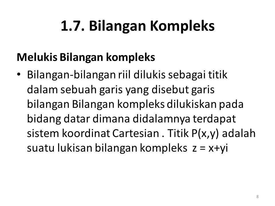 1.7. Bilangan Kompleks Melukis Bilangan kompleks Bilangan-bilangan riil dilukis sebagai titik dalam sebuah garis yang disebut garis bilangan Bilangan