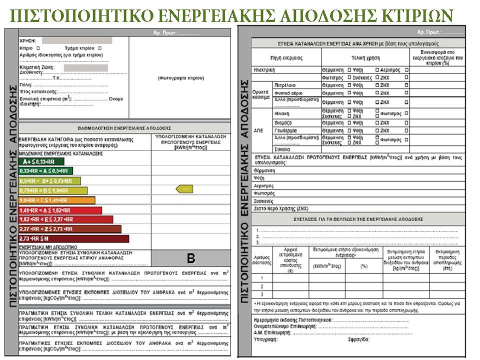 Χαρακτηριστικά υπολογισμού της ενεργειακής απόδοσης κτιρίων  τα θερμικά χαρακτηριστικά του κτιρίου (θερμοχωρητικότητα, μόνωση, κ.λπ.)·  την εγκατάσταση θέρμανσης και παροχής ζεστού νερού·  τις εγκαταστάσεις κλιματισμού·  την ενσωματωμένη εγκατάσταση φωτισμού·  τις κλιματικές συνθήκες εσωτερικού χώρου.