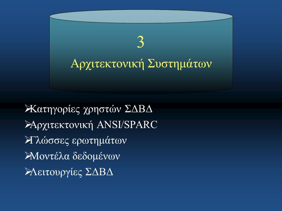 3 Αρχιτεκτονική Συστημάτων  Κατηγορίες χρηστών ΣΔΒΔ  Αρχιτεκτονική ANSI/SPARC  Γλώσσες ερωτημάτων  Μοντέλα δεδομένων  Λειτουργίες ΣΔΒΔ