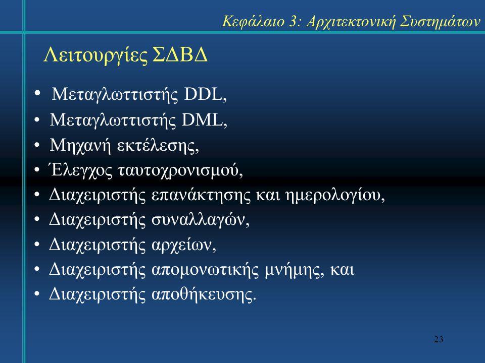 23 Κεφάλαιο 3: Αρχιτεκτονική Συστημάτων Λειτουργίες ΣΔΒΔ Μεταγλωττιστής DDL, Μεταγλωττιστής DML, Μηχανή εκτέλεσης, Έλεγχος ταυτοχρονισμού, Διαχειριστή