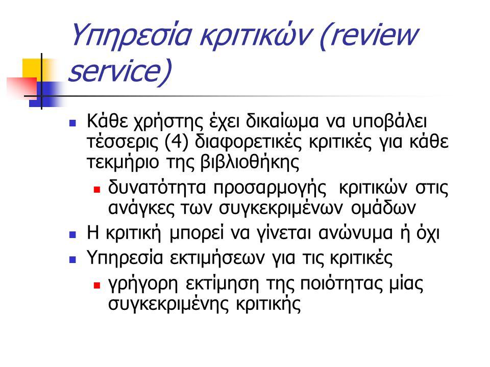 Υπηρεσία κριτικών (review service) Κάθε χρήστης έχει δικαίωμα να υποβάλει τέσσερις (4) διαφορετικές κριτικές για κάθε τεκμήριο της βιβλιοθήκης δυνατότητα προσαρμογής κριτικών στις ανάγκες των συγκεκριμένων ομάδων Η κριτική μπορεί να γίνεται ανώνυμα ή όχι Υπηρεσία εκτιμήσεων για τις κριτικές γρήγορη εκτίμηση της ποιότητας μίας συγκεκριμένης κριτικής