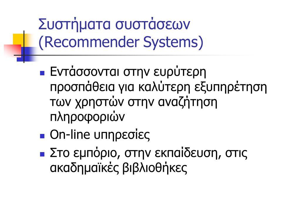 Συστήματα συστάσεων (Recommender Systems) Εντάσσονται στην ευρύτερη προσπάθεια για καλύτερη εξυπηρέτηση των χρηστών στην αναζήτηση πληροφοριών On-line υπηρεσίες Στο εμπόριο, στην εκπαίδευση, στις ακαδημαϊκές βιβλιοθήκες