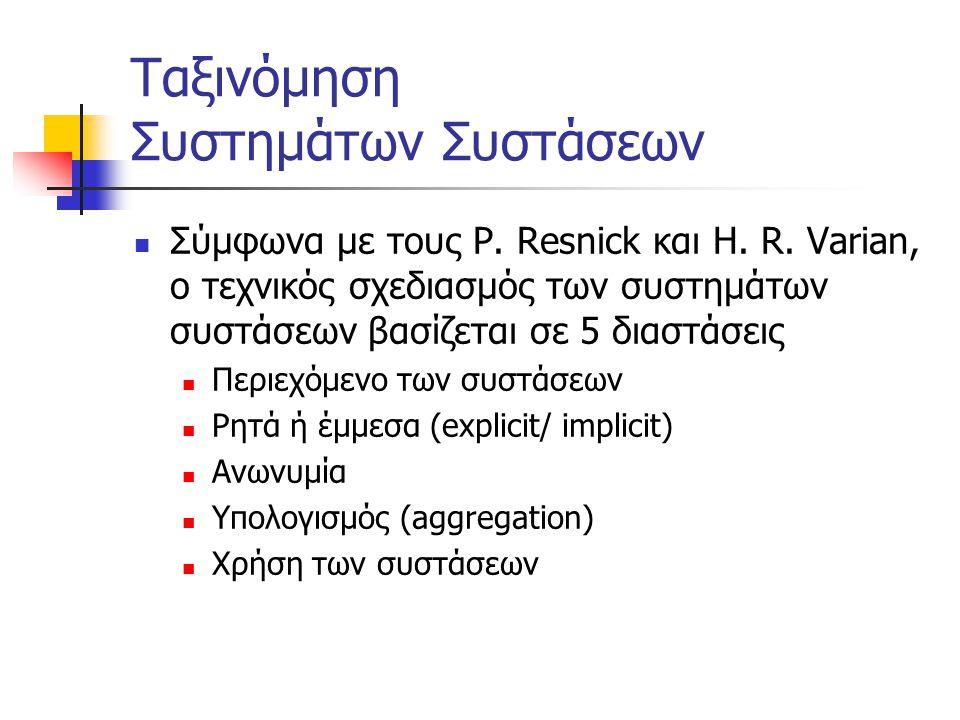 Ταξινόμηση Συστημάτων Συστάσεων Σύμφωνα με τους P.