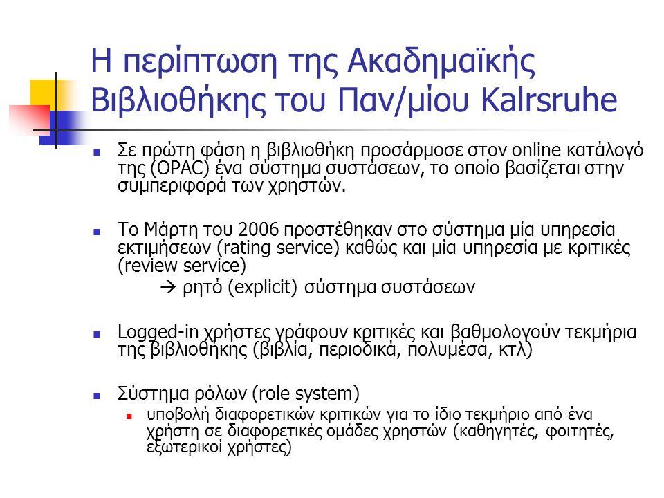 Υπηρεσία Συστάσεων με βάση τη συμπεριφορά του χρήστη (Behavior-based) Έμμεση συλλογή πληροφοριών παρατηρώντας την συμπεριφορά του χρήστη Στο περιβάλλον της βιβλιοθήκης: Λεπτομερή επιθεώρηση τεκμηρίων στον OPAC Παραγγελίες άρθρων σε περιοδικά Παραγγελίες τεκμηρίων που απουσιάζουν προσωρινά από τη βιβλιοθήκη Επιλογή τεκμηρίων ή «κατέβασμα» ενός αρχείου από την ψηφιακή βιβλιοθήκη  μεροληπτική συλλογή δεδομένων
