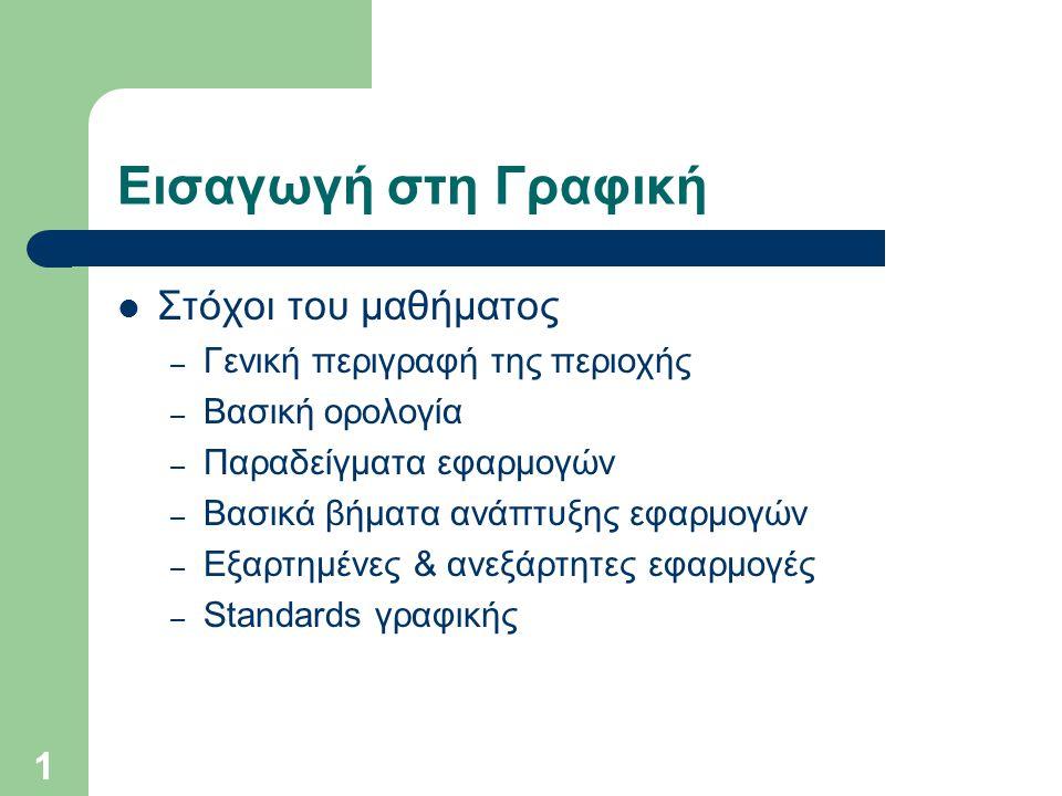 1 Εισαγωγή στη Γραφική Στόχοι του μαθήματος – Γενική περιγραφή της περιοχής – Βασική ορολογία – Παραδείγματα εφαρμογών – Βασικά βήματα ανάπτυξης εφαρμογών – Εξαρτημένες & ανεξάρτητες εφαρμογές – Standards γραφικής