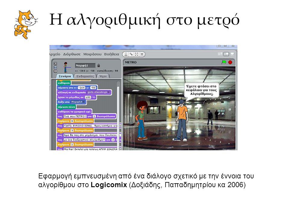 Η αλγοριθμική στο μετρό Εφαρμογή εμπνευσμένη από ένα διάλογο σχετικό με την έννοια του αλγορίθμου στο Logicomix (Δοξιάδης, Παπαδημητρίου κα 2006)