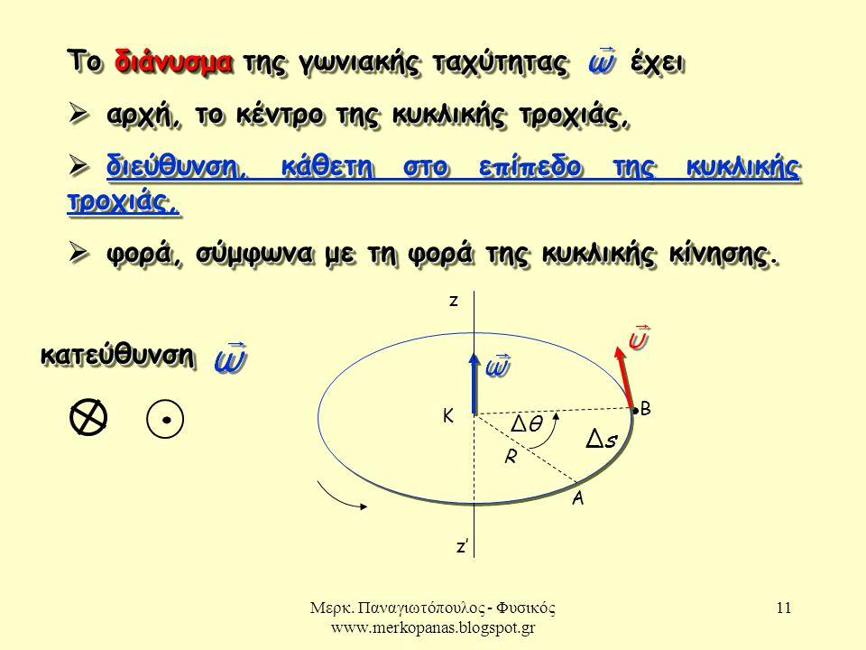 Μερκ. Παναγιωτόπουλος - Φυσικός www.merkopanas.blogspot.gr 11 Το διάνυσμα της γωνιακής ταχύτητας έχει  αρχή, το κέντρο της κυκλικής τροχιάς,  διεύθυ