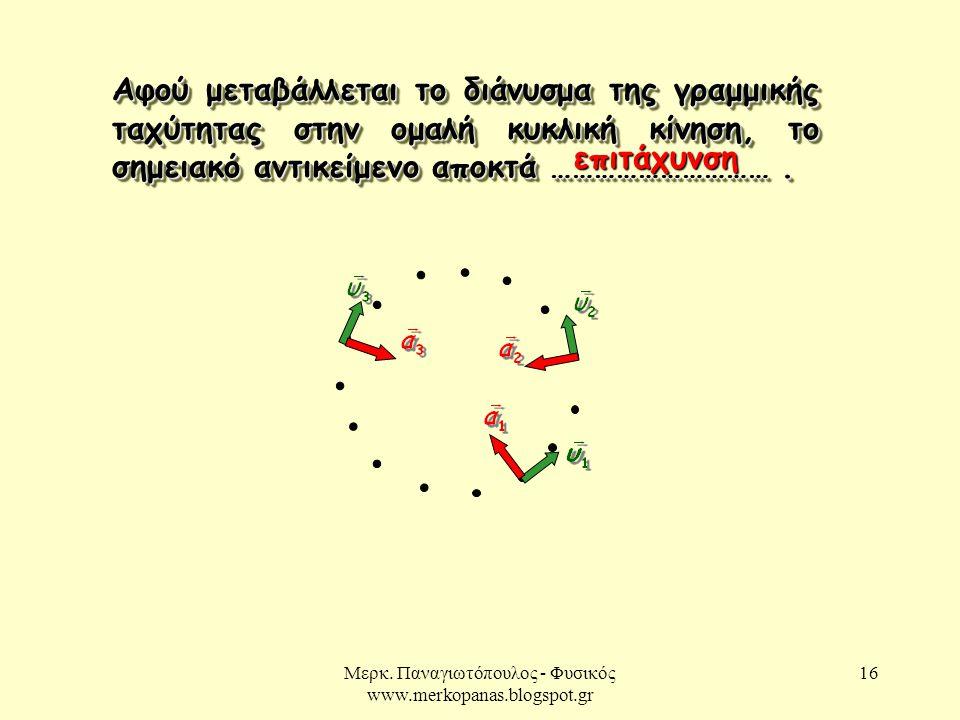 Μερκ. Παναγιωτόπουλος - Φυσικός www.merkopanas.blogspot.gr 16 Αφού μεταβάλλεται το διάνυσμα της γραμμικής ταχύτητας στην ομαλή κυκλική κίνηση, το σημε