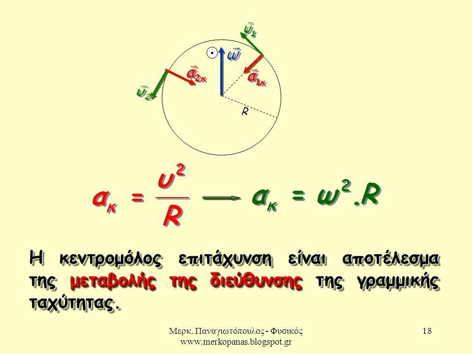 Μερκ. Παναγιωτόπουλος - Φυσικός www.merkopanas.blogspot.gr 18 R Η κεντρομόλος επιτάχυνση είναι αποτέλεσμα της μεταβολής της διεύθυνσης της γραμμικής τ