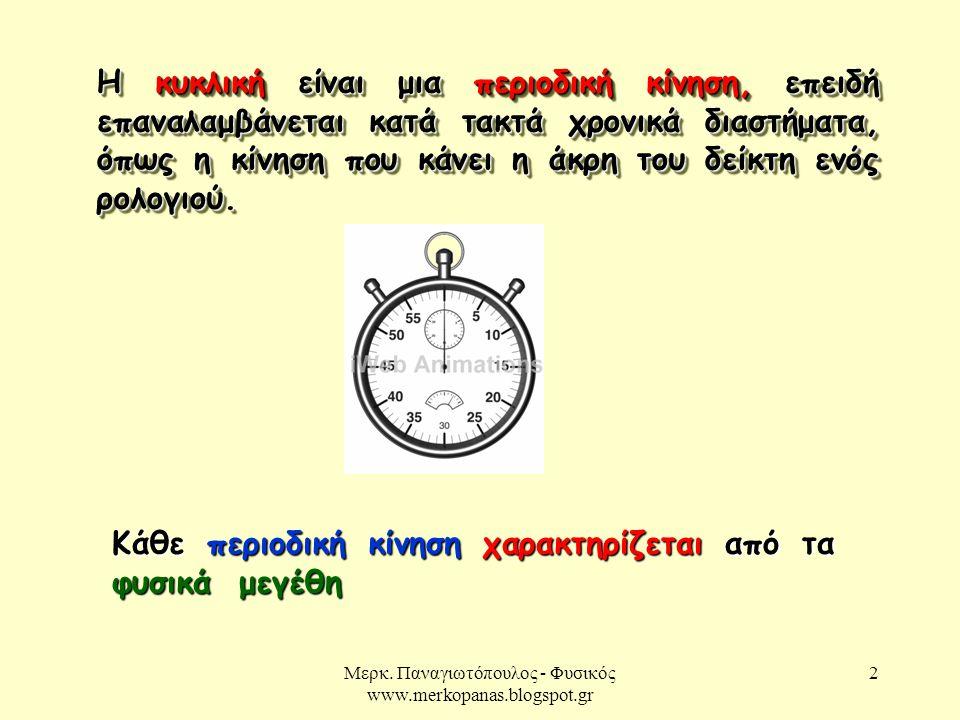 Μερκ. Παναγιωτόπουλος - Φυσικός www.merkopanas.blogspot.gr 2 Η κυκλική είναι μια περιοδική κίνηση, επειδή επαναλαμβάνεται κατά τακτά χρονικά διαστήματ