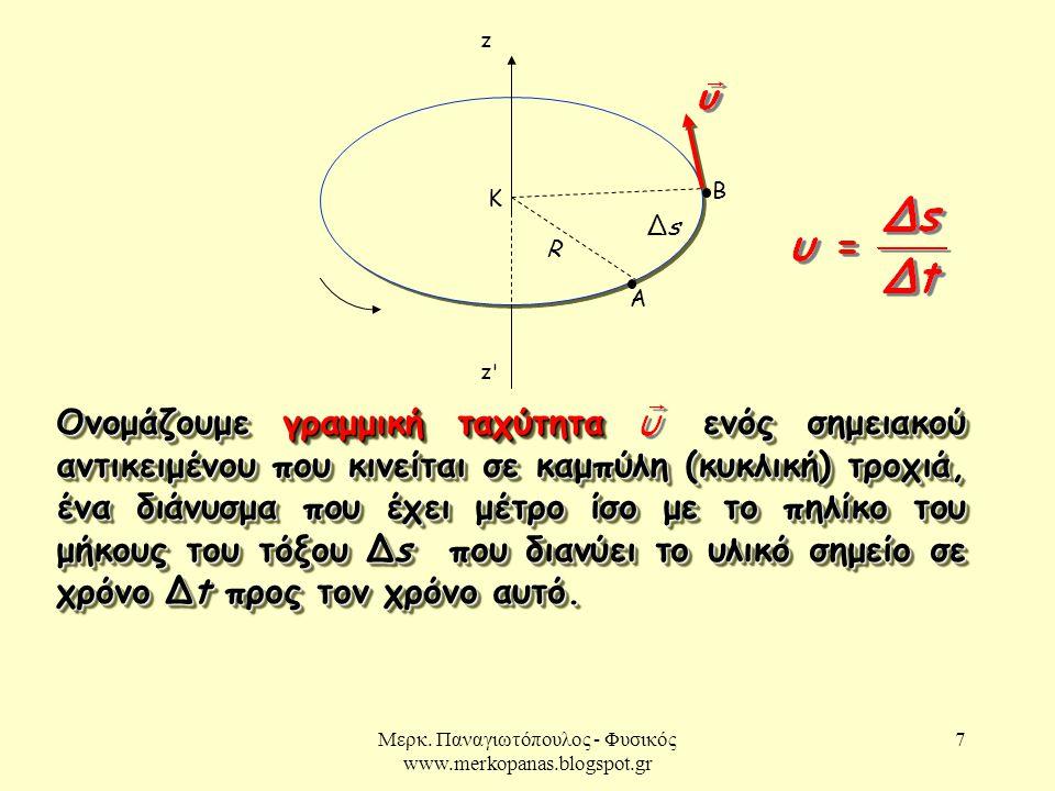 Μερκ. Παναγιωτόπουλος - Φυσικός www.merkopanas.blogspot.gr 7 A B z z'z' K Ονομάζουμε γραμμική ταχύτητα ενός σημειακού αντικειμένου που κινείται σε καμ