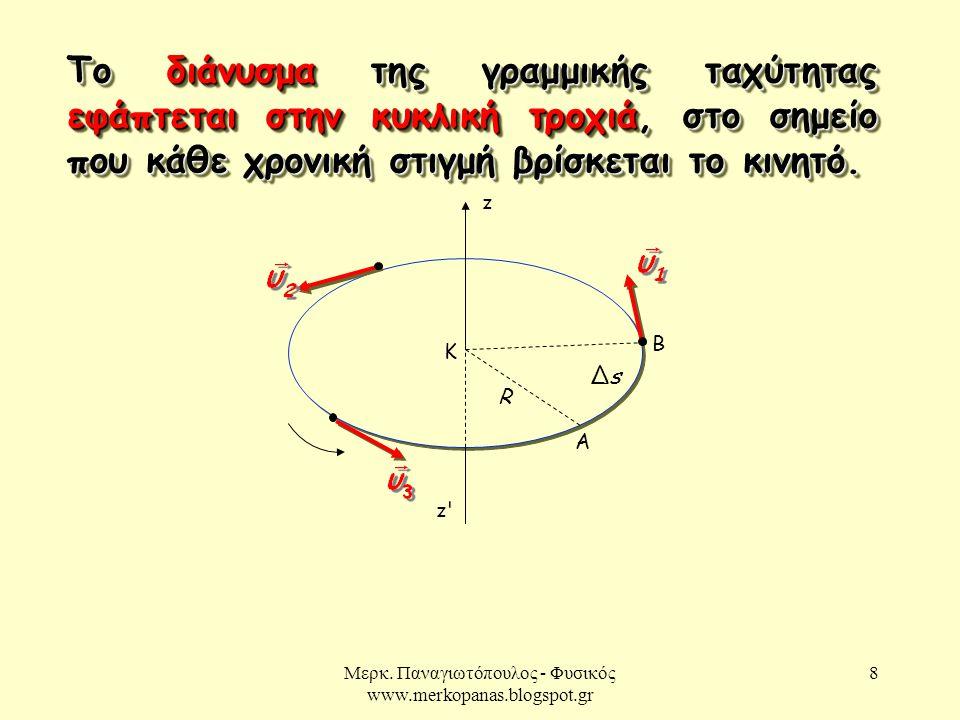 Μερκ. Παναγιωτόπουλος - Φυσικός www.merkopanas.blogspot.gr 8 Το διάνυσμα της γραμμικής ταχύτητας εφάπτεται στην κυκλική τροχιά, στο σημείο που κάθε χρ