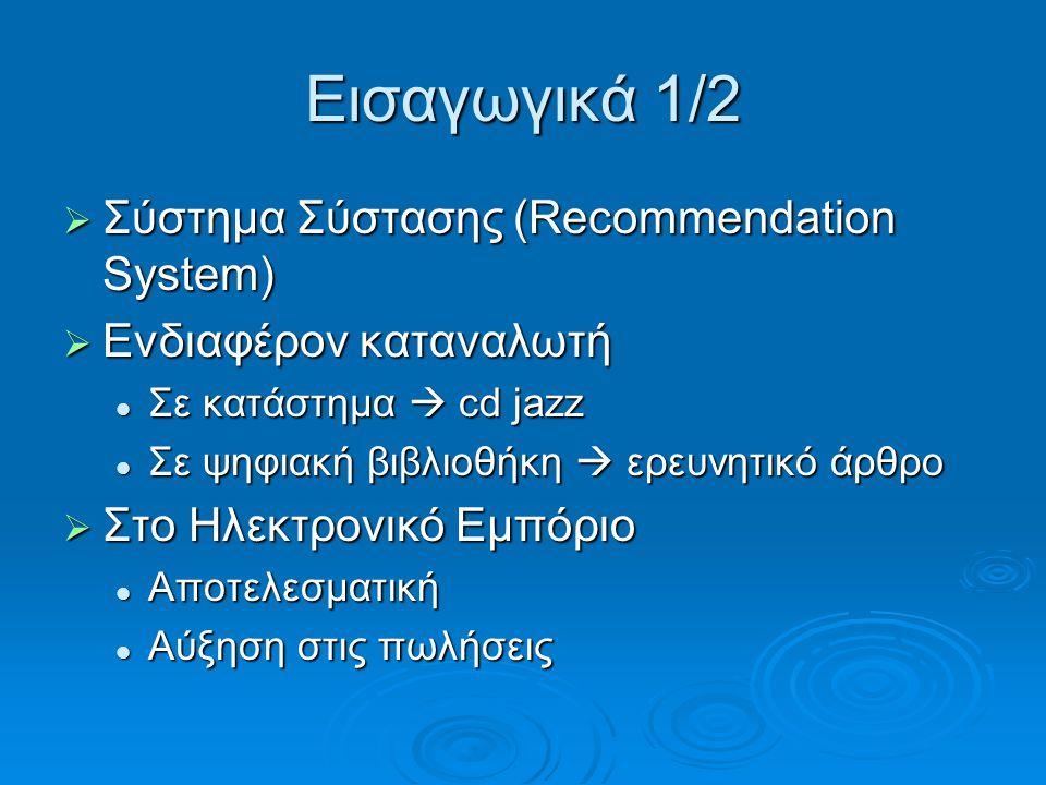 Εισαγωγικά 1/2  Σύστημα Σύστασης (Recommendation System)  Ενδιαφέρον καταναλωτή Σε κατάστημα  cd jazz Σε κατάστημα  cd jazz Σε ψηφιακή βιβλιοθήκη  ερευνητικό άρθρο Σε ψηφιακή βιβλιοθήκη  ερευνητικό άρθρο  Στο Ηλεκτρονικό Εμπόριο Αποτελεσματική Αποτελεσματική Αύξηση στις πωλήσεις Αύξηση στις πωλήσεις